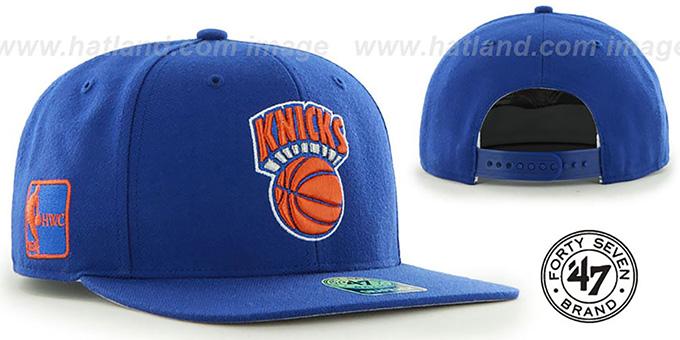 581d1d05beeb00 Knicks 'SURE-SHOT SNAPBACK' Royal Hat by Twins 47 Brand