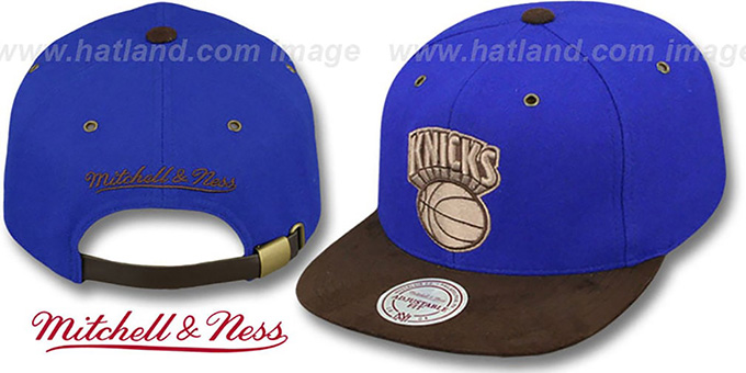 Knicks 'TC-BROWN SUEDE STRAPBACK' Hat Mitchell & Ness : pictured without stickers that these products are shipped with