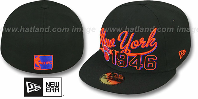Knicks 'THE BEGINNING' Black Fitted Hat by New Era : pictured without stickers that these products are shipped with