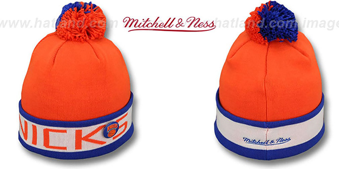 Knicks 'THE-BUTTON' Knit Beanie Hat by Michell & Ness : pictured without stickers that these products are shipped with