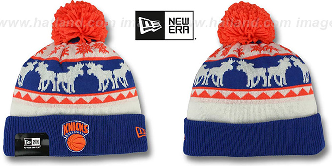 Knicks 'THE-MOOSER' Knit Beanie Hat by New Era : pictured without stickers that these products are shipped with