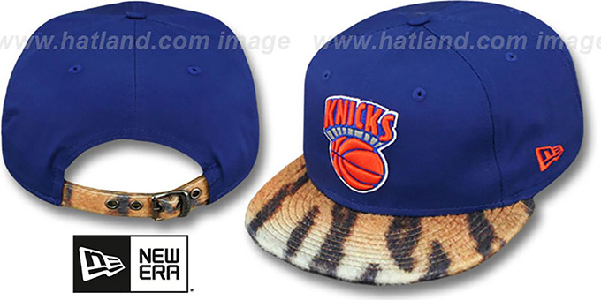Knicks 'TIGER ANIMALISTIC-FUR VIZA STRAPBACK' Hat by New Era : pictured without stickers that these products are shipped with