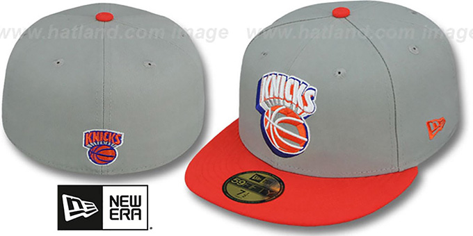 Knicks 'TRACE-POP' Grey-Orange Fitted Hat by New Era : pictured without stickers that these products are shipped with