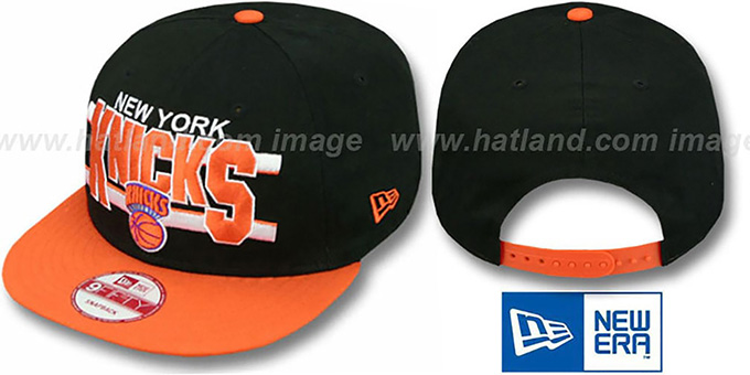 Knicks 'WORDSTRIPE SNAPBACK' Black-Orange Hat by New Era : pictured without stickers that these products are shipped with