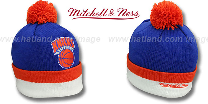 Knicks 'XL-LOGO BEANIE' Royal by Mitchell and Ness : pictured without stickers that these products are shipped with