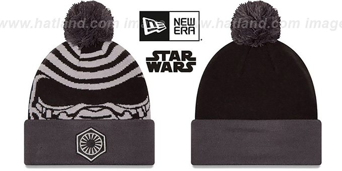 Kylo Ren 'GALLACTIC BIGGIE' Black-Grey Knit Beanie Hat by New Era : pictured without stickers that these products are shipped with