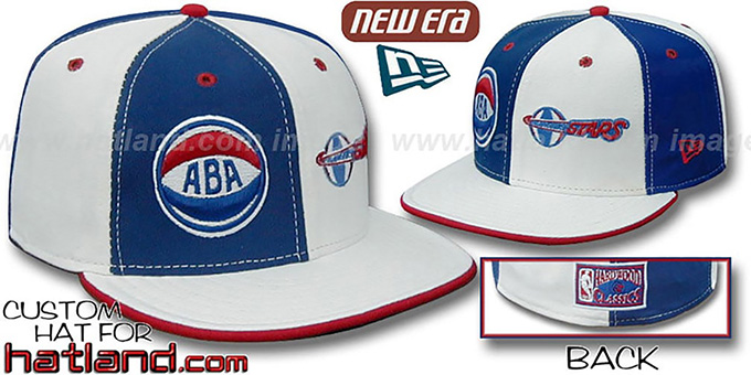 LA Stars 'ABA DOUBLE WHAMMY' Royal-White Fitted Hat : pictured without stickers that these products are shipped with