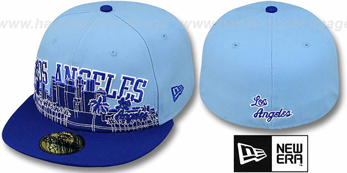Lakers  'CITY-LINE' Sky-Royal Fitted Hat by New Era : pictured without stickers that these products are shipped with