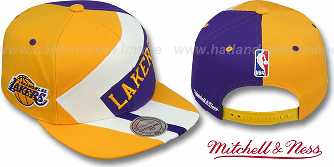 Lakers '1-ON-1 SNAPBACK' Gold-White-Purple Hat by Mitchell & Ness : pictured without stickers that these products are shipped with