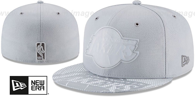 Lakers '2018 NBA ONCOURT ALL-STAR' Grey Fitted Hat by New Era : pictured without stickers that these products are shipped with