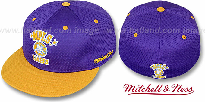 Lakers '2T BP-MESH' Purple-Gold Fitted Hat by Mitchell & Ness : pictured without stickers that these products are shipped with
