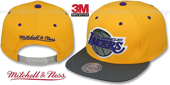 Lakers '3M XL-LOGO SNAPBACK' Gold-Grey Hat by Mitchell and Ness : pictured without stickers that these products are shipped with