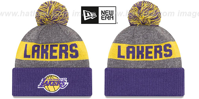 Lakers 'ARENA SPORT' Purple-Gold Knit Beanie Hat by New Era : pictured without stickers that these products are shipped with