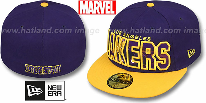 Lakers 'BIG WORD ACTION' Purple-Gold Fitted Hat by New Era : pictured without stickers that these products are shipped with