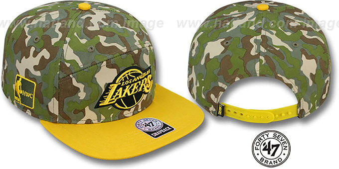 Lakers 'CHENY CAMPER STRAPBACK' Hat by Twins 47 Brand : pictured without stickers that these products are shipped with