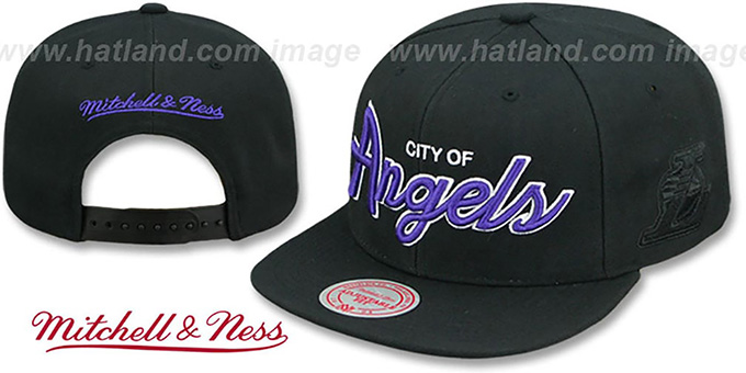 Lakers  CITY NICKNAME SCRIPT SNAPBACK  Black Hat by Mitchell ... f2e8cfbf7fa