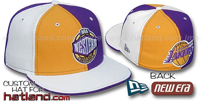 Lakers CONFERENCE 'PINWHEEL' Gold-Purple-White Fitted Hat : pictured without stickers that these products are shipped with