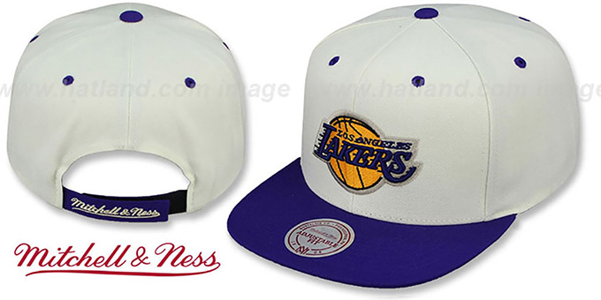 Lakers 'CREAMTOP STRAPBACK' Hat by Mitchell & Ness : pictured without stickers that these products are shipped with