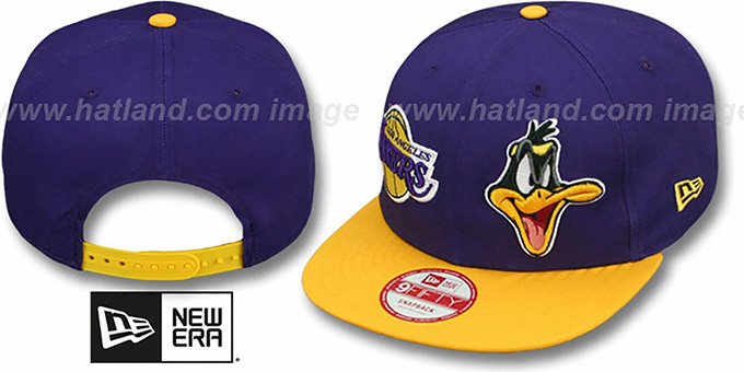 Lakers 'DOUBLE-WHAM DAFFY DUCK SNAPBACK' Hat by New Era : pictured without stickers that these products are shipped with