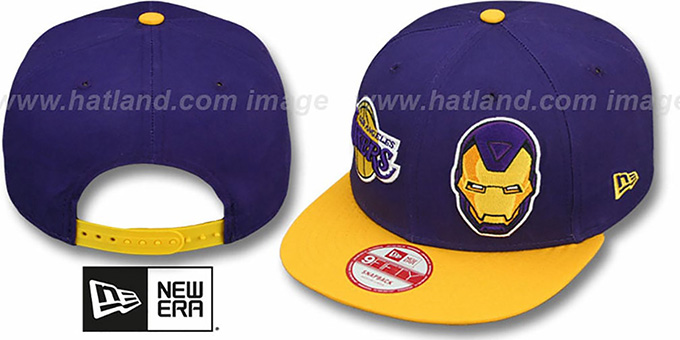 Lakers 'DOUBLE-WHAM IRON MAN SNAPBACK' Hat by New Era : pictured without stickers that these products are shipped with