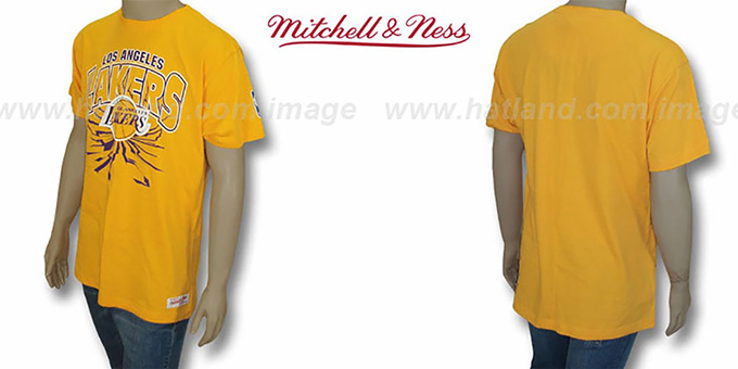 Lakers 'EARTHQUAKE' Gold T-Shirt by Mitchell & Ness : pictured without stickers that these products are shipped with