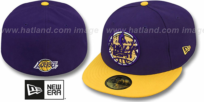 Lakers 'ESPN INNER LOCKED' Purple-Gold Fitted Hat by New Era : pictured without stickers that these products are shipped with