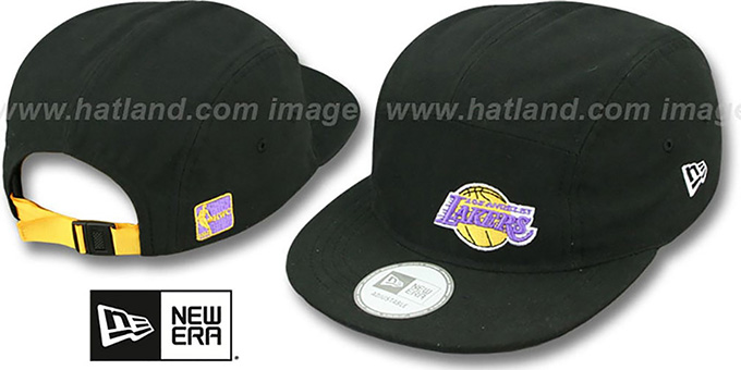 Lakers 'FLAWLESS CAMPER STRAPBACK' Black Hat by New Era : pictured without stickers that these products are shipped with