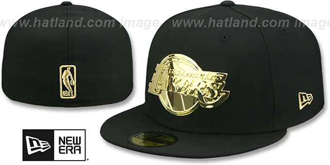 c83d3dbf8faf83 Lakers 'GOLD METAL-BADGE' Black Fitted Hat by New Era