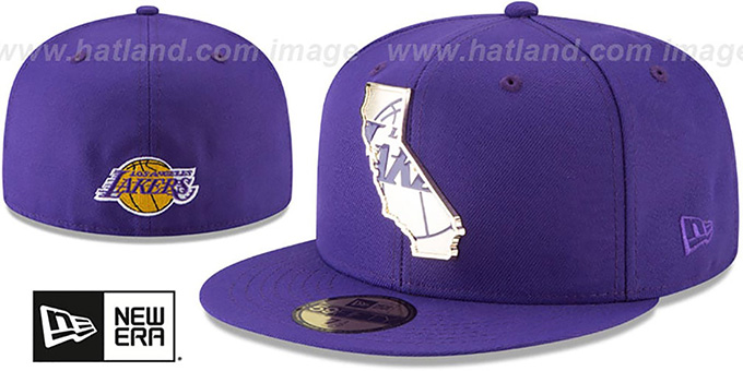 5b83a4afb8b4a8 Lakers 'GOLD STATED METAL-BADGE' Purple Fitted Hat by New Era