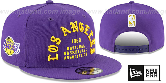 Lakers 'GOTHIC-ARCH SNAPBACK' Purple Hat by New Era : pictured without stickers that these products are shipped with