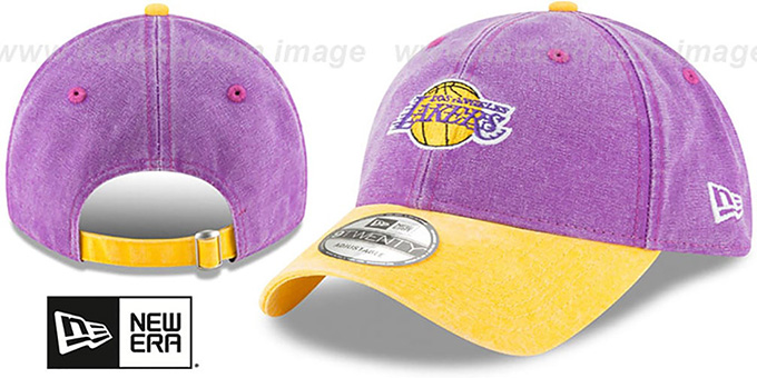 Lakers 'GW RUGGED CANVAS STRAPBACK' Purple-Gold Hat by New Era