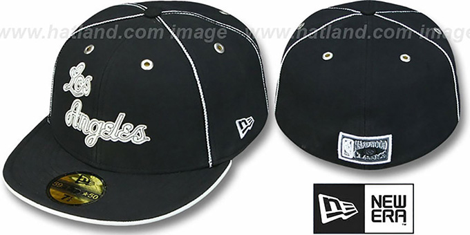 Lakers 'HARDWOOD BLACK DaBu' Fitted Hat by New Era : pictured without stickers that these products are shipped with