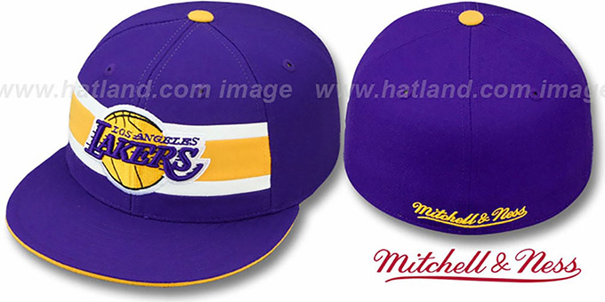Lakers 'HARDWOOD TIMEOUT' Purple Fitted Hat by Mitchell & Ness : pictured without stickers that these products are shipped with