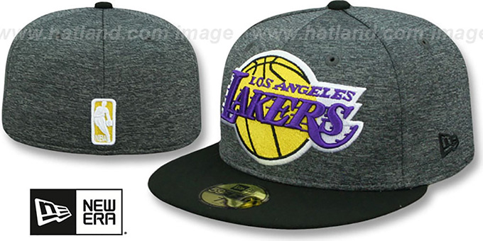 Lakers 'HEATHER-HUGE' Grey-Black Fitted Hat by New Era : pictured without stickers that these products are shipped with