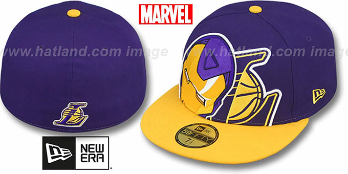 Lakers 'HERO-HCL' Purple-Gold Fitted Hat by New Era : pictured without stickers that these products are shipped with