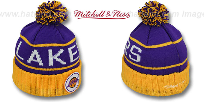 Lakers 'HIGH-5 CIRCLE BEANIE' Purple-Gold by Mitchell and Ness : pictured without stickers that these products are shipped with