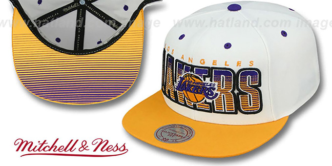 Lakers 'HOMESTAND SNAPBACK' White-Gold Hat by Mitchell and Ness : pictured without stickers that these products are shipped with