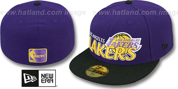 Lakers 'HWC-TIGHT' Purple-Black Fitted Hat by New Era : pictured without stickers that these products are shipped with