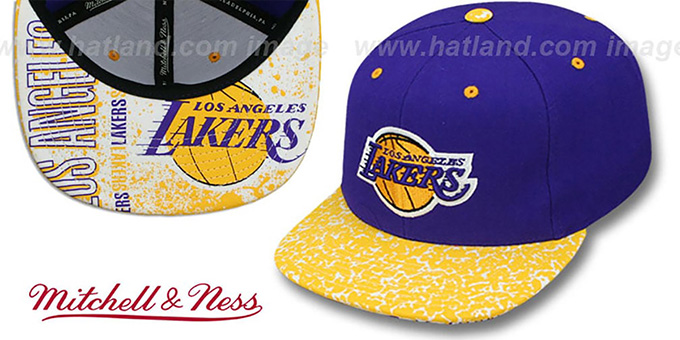 Lakers 'IN-THE-STANDS SNAPBACK' Hat by Mitchell & Ness : pictured without stickers that these products are shipped with