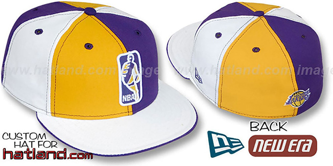 Lakers 'KEY-INSIDER PINWHEEL' Gold-Purple--White Fitted Hat : pictured without stickers that these products are shipped with
