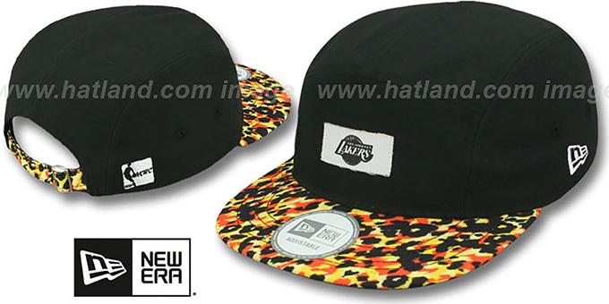 6b5d54f020a Lakers  LEOPARD CAMPER STRAPBACK  Black Hat by New Era