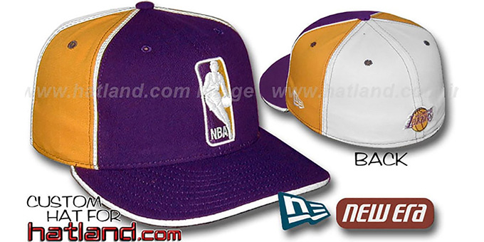 Lakers 'LOGOMAN-2' Purple-Gold-White Fitted Hat by New Era : pictured without stickers that these products are shipped with