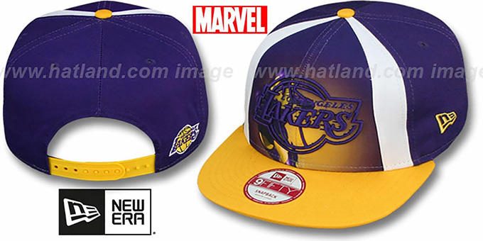 Lakers 'MARVEL RETRO-SLICE SNAPBACK' Purple-Gold Hat by New Era : pictured without stickers that these products are shipped with