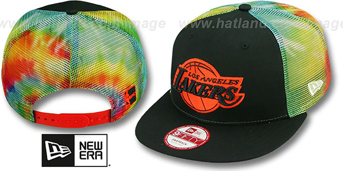 Lakers 'MESH TYE-DYE SNAPBACK' Hat by New Era : pictured without stickers that these products are shipped with