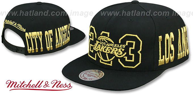 Lakers 'METALLIC AREA-CODE SNAPBACK' Black Hat by Mitchell and Ness