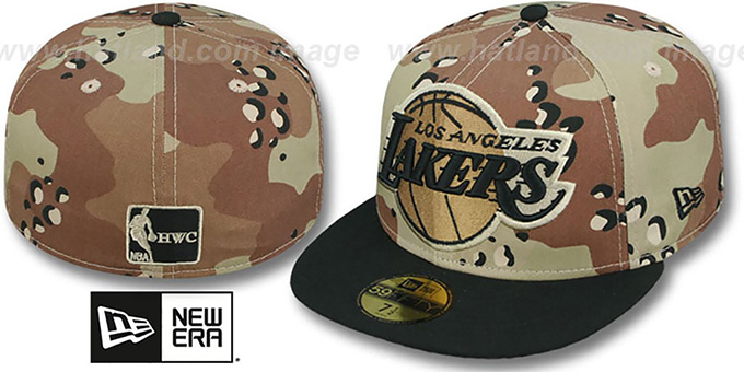 Lakers 'MIGHTY-XL' Desert Storm Camo Fitted Hat by New Era : pictured without stickers that these products are shipped with