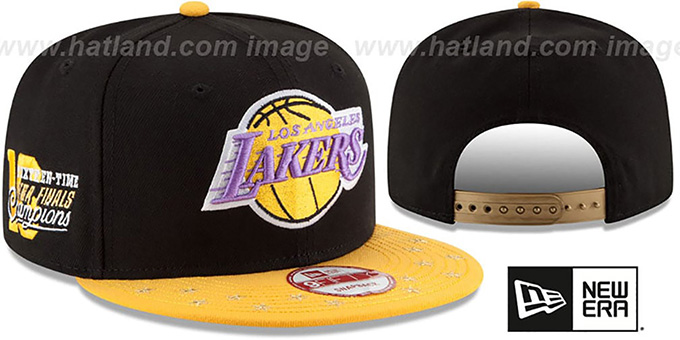 Lakers 'NBA STAR-TRIM SNAPBACK' Black-Gold Hat by New Era : pictured without stickers that these products are shipped with