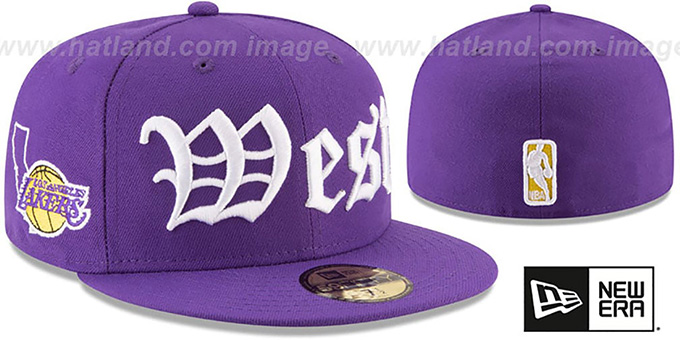 Lakers 'OLD ENGLISH CONFERENCE' Purple Fitted Hat by New Era
