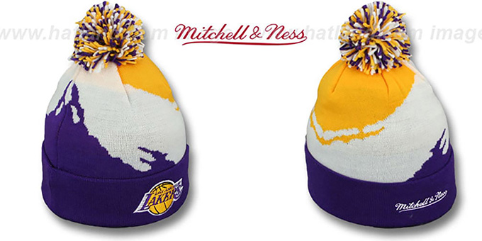 Lakers 'PAINTBRUSH BEANIE' by Mitchell and Ness : pictured without stickers that these products are shipped with