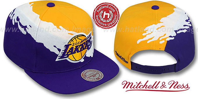 Lakers 'PAINTBRUSH SNAPBACK' Gold-White-Purple Hat by Mitchell & Ness : pictured without stickers that these products are shipped with